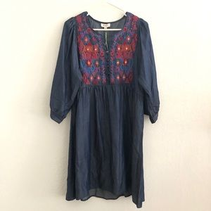 Umgee || Denim Boho Chic Embroidered Dress